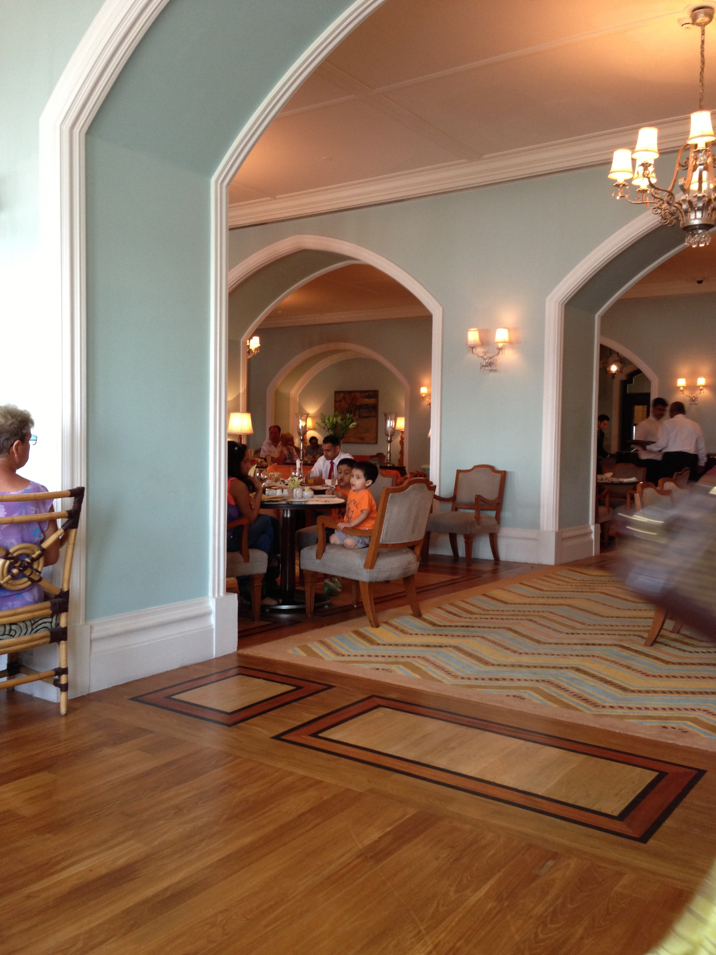 Tea Time at the Sea Lounge at the Taj — love the wall color!!!